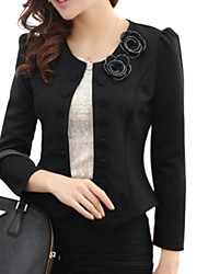 Women's White / Black Blazer , Work Long Sleeve