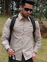 Men Sport Casual Outdoor Quick-drying Shirts Climbing Hiking Wading Fishing Long Sleeve Shirt(Green+Gray Size : S/M/L)