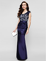 Mermaid / Trumpet Strapless Floor Length Lace Satin Formal Evening Dress with Lace Side Draping by TS Couture®