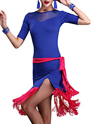 Latin Dance Dresses Women's Performance Crepe / Milk Fiber Draped 2 Pieces Black / Blue