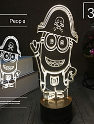 Valentine'S Day Gift Romantic Night Light Stereo Vision Transparent Acrylic 3 D Luminous Glow Plates Desk Lamp Light Led