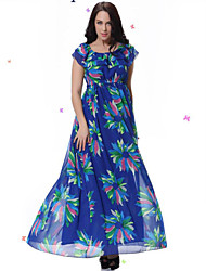 Women's Beach / Plus Sizes Boho / Print Loose / Swing Dress , Round Neck Midi Spandex