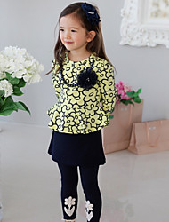 Girl's Spring / Fall Cotton Sequin Long Sleeveed Sunflower Fake Two Piece Dress