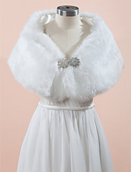 Wedding  Wraps Capelets Sleeveless Faux Fur White / Champagne Wedding / Party/Evening Rhinestone Clasp