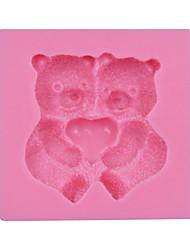 presente bonito do urso fondant bolo molde de silicone bakeware doces de chocolate sm-030 dos namorados