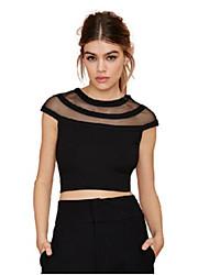 Women's Solid White / Black Blouse , Round Neck Short Sleeve