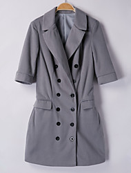 Women's Solid Gray Dress , Sexy / Work V Neck ½ Length Sleeve