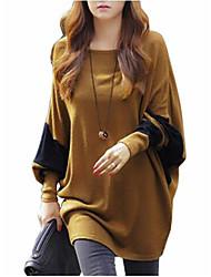 Vrouwen Eenvoudig / Street chic Zomer T-shirt,Casual/Dagelijks Patchwork Ronde hals Lange mouw Geel Polyester Dun