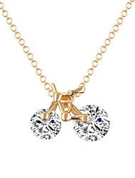Designer Jewelry Alloy Zircon Bike Pendant Necklace Elegant