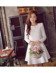 Damen Solide Einfach Formal Set,Rundhalsausschnitt Winter Langarm Weiß Acryl / Polyester / Elasthan Mittel