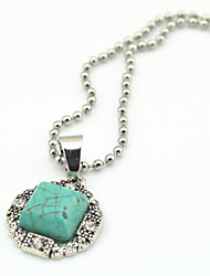 Vintage Look Antique Silver Square Cz Crystal Turquoise Stone Small Necklace Pendant(1PC)