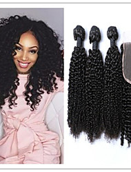 4Pcs/Lot Mongolian Kinky Curly Hair Weft Weave Bundles Afro Kinky Curly With Top Lace Closure  Virgin Hair Extensions