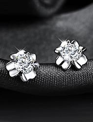 Brincos Curtos Cristal Acrílico Chapeado Dourado Trevo-de-quatro-folhas Prata Jóias Para Casamento Festa Diário Casual 2pçs