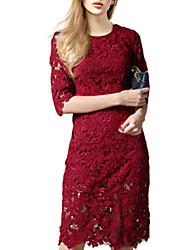Moulante Robe Femme Soirée / Cocktail Sexy,Couleur Pleine Col Arrondi Au dessus du genou ½ Manches Rose Rouge Noir Coton AutomneTaille