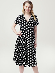 Women's Casual / Day / Beach Polka Dot Plus Size / Loose Dress , Deep V Knee-length Spandex
