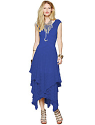 Women's Beach Lace / Skater Dress,Solid Round Neck Maxi Sleeveless Blue / Black Acrylic Spring