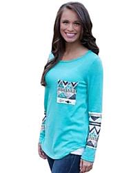 Damen Solide / Druck Einfach Lässig/Alltäglich T-shirt,Rundhalsausschnitt Herbst Langarm Blau / Rosa / Rot / Weiß Polyester Mittel