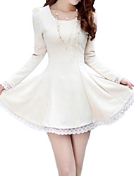 Women's U Neck Lace Long Sleeve Dress(More Colors)