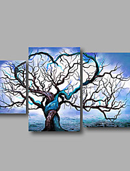 "Ready to Hang Stretched Hand-Painted Oil Painting 56""x32"" Three Panels Canvas Wall Art Trees Light Blue Modern"