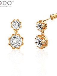 Bridal Big Simulated Diamond Earrings For Women New 18K Gold Plated Cubic Zirconia Crown Earrings Jewelry E10119Imitation Diamond Birthstone