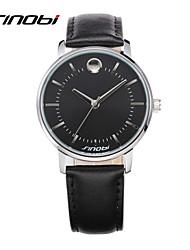 SINOBI Male's Business Leather Wrist Watches Black Surface Waterproof Men's Brand Gents Dress Quartz Wristwatches Reloj