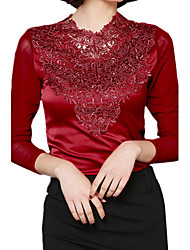 Spring Plus Sizes Gauze Splice Lace V Neck Long Sleeve Solid Color OL Shirt Casual Blouse Tops