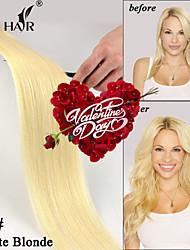 """60 # blancas rubias """"piel gruesa 18 de cinta de trama brasileña extensiones del pelo 20pcs / pack cinta recta en extensiones de cabello humano"""