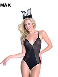 XFMAX Black Sexy Fishnet Bodysuit Teddy V Collar Teddies Bodysuits Rabbit Dress