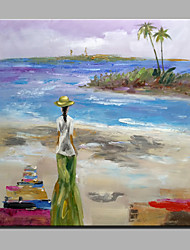 Oil Painting Modern Abstract Pure Hand Draw Ready To Hang Decorative The Girl Walks On The Beach