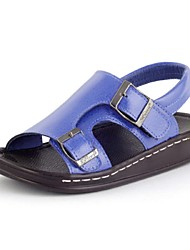 Boy's Sandals Summer Comfort / Open Toe / Sandals Leather Outdoor / Casual Flat Heel Black / Blue / Brown