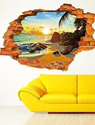 Sunshine Beach Sea Sun Tree Resort 3D Window View Vinyl Pvc Wall Sticker Living Room Decal Study Work Room Landscape