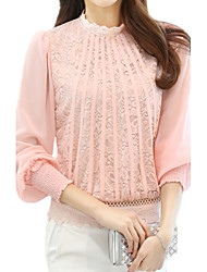 Spring Summer Women's Lace Splice Chiffon Stand Collar Long Sleeve OL Shirt Casual Blouse Tops