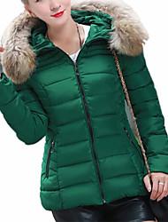 Women's New Fur Hoodies Solid Long Sleeve Zipper Down Coat
