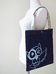 Women Oxford Cloth Shopper Shoulder Bag - Blue