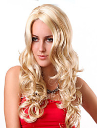 Fashionable Sweet Middle Part Blonde Color Long Curly Synthetic Hair Wig
