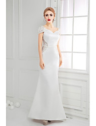 Formal Evening Dress - Ivory A-line V-neck Floor-length Lace / Satin
