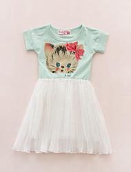 Girl's Green / White Dress,Cartoon Cotton Summer