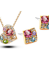 Jewelry Set Shining Crystal Elegant Multicolor Heart Pendant Necklace Earring Ring(Assorted Color)
