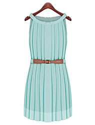 Women's Work Plus Size / Chiffon Dress,Solid Round Neck Mini Sleeveless Blue / Yellow Polyester Summer