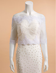 Wedding  Wraps Shrugs 3/4-Length Sleeve Lace White Wedding / Party/Evening / Casual Bateau Lace