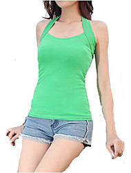 Women's Summer Solid Sleeveless Tank Top Halter Neck Vests