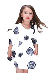 Girl's White Dress , Floral Polyester Summer