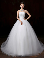 Ball Gown Strapless Cathedral Train Lace Tulle Wedding Dress with Appliques by