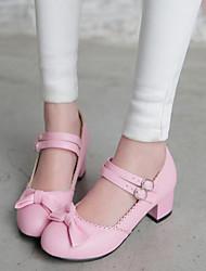 Calçados Femininos - Saltos - Saltos / Arrendondado - Salto Grosso - Azul / Rosa / Roxo / Amêndoa - Courino -Escritório & Trabalho /