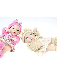 NPKDOLL Reborn Baby Doll Hard Silicone 11inch 28cm Waterproof Toy Floral Skirt Khaki Pink Girl