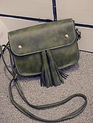 Women PU Sling Bag Shoulder Bag - Green / Brown / Red / Black