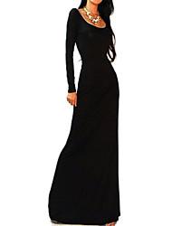 Mulheres Vestido Maxi Manga Longa Decote Redondo Frente Única Mulheres