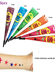 6PCS Herbal Henna Tube Multi Color Tattoo Kit Body Art Mehandi Mehndi DIY Waterproof Hena