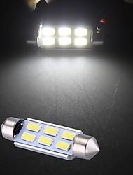 branco 6 LED SMD 5630 SMD festão interior 41 milímetros cúpula lâmpada (2 peças)