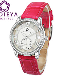 KEDIEYA Rose pink Genuine Leather Zircon Diamond Mosaic Small Second Dial 50M Waterproof Watch Ladies Womens Watches